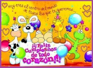feliz cumpleaños para niños corazon